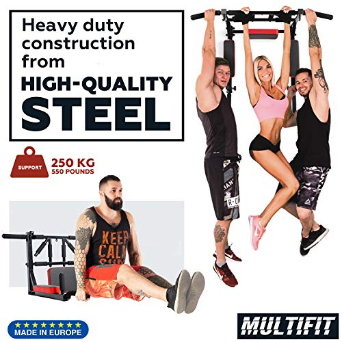 Wall-Mounted-Pull-Up-Bar-and-Dip-Station-Multi-Grip-Chin-Up-Bar-Dip-Stands-Compact-Power-Tower-for-Indoor-Home-Gym-Workout-Multifunctional-Fitness-Training-Equipment