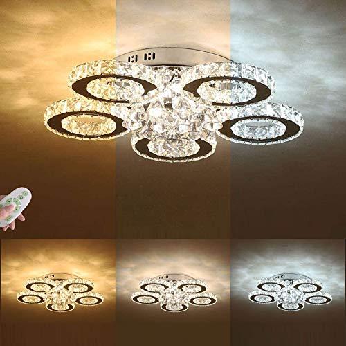 Kristall LED-Deckenleuchte Dimmbar, Kreativ Ring Design Wohnzimmer-Lampe, Modern Deckenlampe Rund, Luxus Deko Schlafzimmerlampe, Inkl Fernbedienung, 5-Flammig, Edelstahl Chrom, Ø 70 cm, 59 W, 4900 LM