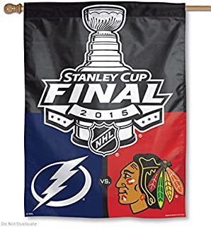 Wincraft Chicago Blackhawks/Tampa Bay Lightning 2015 Stanley Cup Dueling 27 x 37-inch Vertical Flag