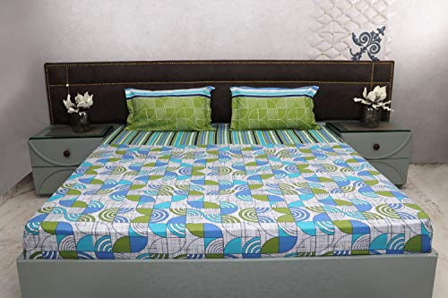 Cottington Lane Bed Sheet for Double Bed with 2 Pillow Cover - Grey Swift Pattern, 100% Cotton