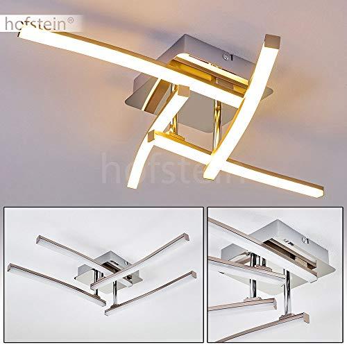 LED Deckenleuchte Powassan, moderne Deckenlampe in Chrom, 4-flammig mit drei verstellbaren Lichtleisten, 4 x 3 Watt, je 300 Lumen (1200 Lumen insgesamt), 3000 Kelvin (warmweiß)