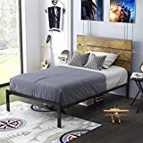 Allewie Twin Size Platform Bed Frame with Wood headboard and Metal Slats / Rustic Country Style Mattress Foundation / Box Spring Optional / Strong Metal Slats Support / Easy Assembly