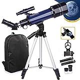 USCAMEL Telescopio telescopio de astronomía de 70/400 mm para niños y principiantes, telescopio refractario astronómico con trípode ajustable, adaptador de teléfono, mochila
