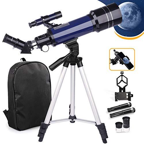 Telescopio USCAMEL Telescopio astronomico 70 / 400mm per bambini e principianti, telescopio rifrattore astronomico con treppiede regolabile, adattatore per telefono, zaino, telescopi portatili