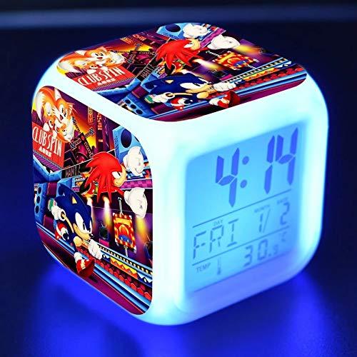 fdgdfgd Anime Mascota Erizo de Dibujos Animados LED Reloj Despertador para niños Juguete LED Reloj Despertador Digital con termómetro Fecha