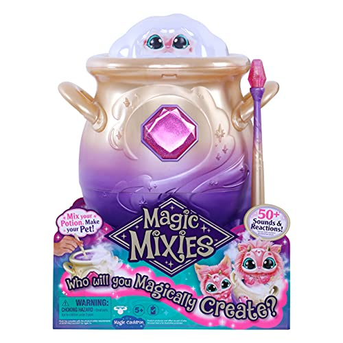 Magic Mixies Magical Misting Cauldron with Interactive 8 inch Pink Plush Toy and 50+ Sounds and Reactions