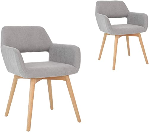 Lansen Furniture (Set of 2) Modern Living Dining Room Accent Arm Chairs Club Guest with Solid Wood Legs (Grey)