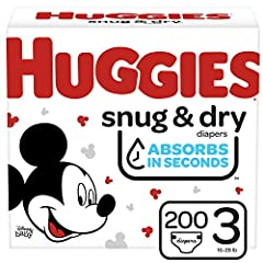 Huggies Snug & Dry diapers size 3 fit babies 16-28 lb. (7-13 kg) Up to 12 Hours of Day or Night Protection – Huggies trusted Leak Lock System helps prevent leaks for up to 12 hours, day or night Absorbs in Seconds – Huggies Snug & Dry absorbs wetness...