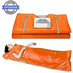 Lofan Portable Infrared Sauna Blanket, Digital Far-Infrared Heat Sauna Blanket 2 Zone, Personal Sauna for Relaxation at Home, Upgraded Design (Upgrade Orange w/Stretch Out Hand Design)