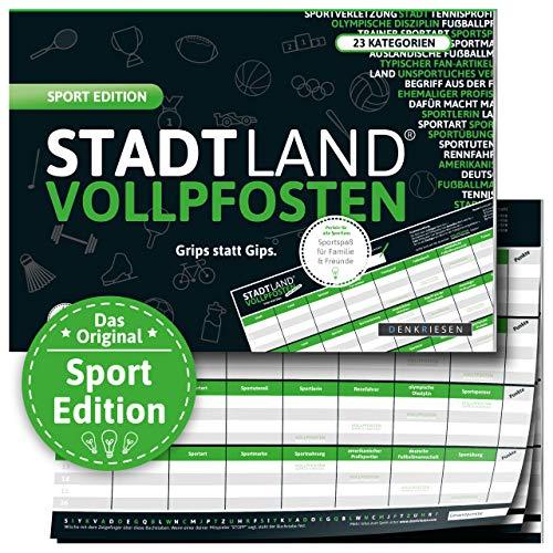 DENKRIESEN - Stadt Land VOLLPFOSTEN® - Sport Edition 'Grips statt Gips.' Stadt Land FLUSS SPIELBLOCK