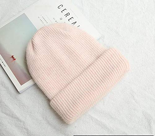 Women's knitted winter hat, women's warm beanie, girl's solid color hat, female skull hat, beanie, soft hat -pink