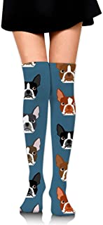 MKLOS 通気性 圧縮ソックス Breathable Winer Dog Face Tube Socks Over Exotic Psychedelic Print Compression High Tube Thigh Boot Stockings Knee High Women Girl