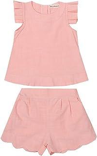 CASUALBOYS Camiseta De Manga Corta Plisada De Algodón De 2 Piezas + Pantalones Cortos Pink-13(130cm)