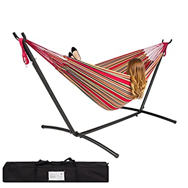 Best ChoiceProducts Double Hammock with Space Saving Steel Stand Includes Portable Carrying Case, Red