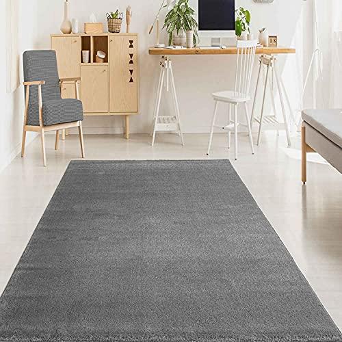 Tapis de Salon uni Doux Moderne à Poils Courts - Différentes Tailles - Couleur : Gris - Dimensions : 80 x 150 cm