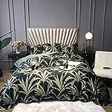 Conjunto de cubiertas de doble edredón Set de hoja verde, juego de funda de edredón Conjunto de ropa de cama 4 piezas 100% algodón egipcio, cubierta de cubos de edredón Incluye cubierta de edredón 220