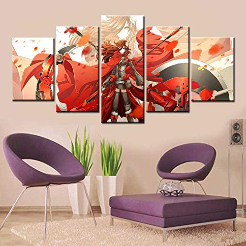 BailongXiao 5 rosa Rubin Leinwand Kunst Anime Poster und drucken Wohnzimmer Wohnkultur,Rahmenlose MalereiCJX2907-20x35cmx2, 20x45cmx2, 20x55cmx1