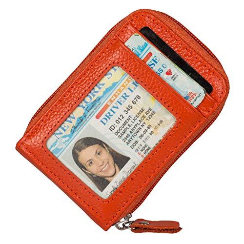 Noedy RFID Blocking Credit Card Case Organizer Genuine Leather Zip-Around Security Wallet Orange