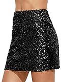 Verdusa Women's Above Knee Sequin Sparkle Mini Skirt Black M