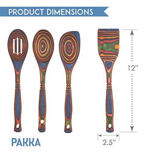 Crate Collective Pakka Wooden Spoons Set - Exotic Pakkawood Utensils for Serving & Cooking - Non-Stick Spoon, Slotted Spoon, Corner Spoon, and Spatula for All Cookware - Lightweight & Heat Resistant