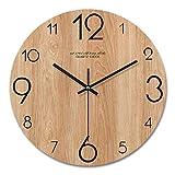Urijk Wandnuhr Geräuschlos 12 Zoll Holz Wanduhr Modern Stil großes Ziffernblatt Uhr Sekundenzeiger Wohnaccessoire für Zuhause Küche Wohnzimmer Dekoration(B,2#)