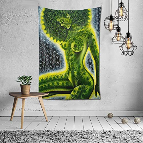 SHOUNENN Beautiful Sexy Girl with Green Cannabis Weed Leaf Hippie Mandala Tapestry Wall Hanging Psychedelic Bedding Wall Art Bohemian Wall Tapesty Hanging Trippy Tapastry Bedroom(40X60in)