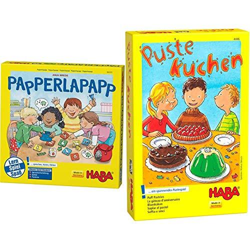 Haba Papperlapapp, Lernspielsammlung mit 6 Spielen für Kinder ab 3 Jahren, Lernspiele zur Förderung & Pustekuchen, spannendes Pustespiel für 1-4 Spieler ab 4 Jahren, trainiert die Mundmotorik