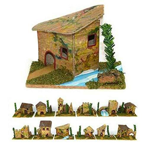 Natale Set 12 Casette presepe Piccole Miniatura Box assortite 8x5x6 h. cm presepio Napoletano casolari Decorazione