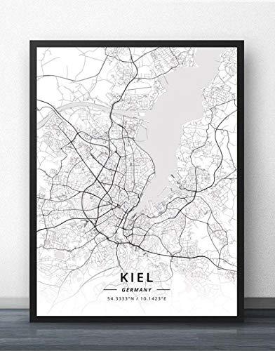 ZWXDMY Leinwand Bild,Deutschland Kiel Stadtplan Drucken Schwarz Und Weiß Einfach Text Canvas Poster Malerei Wandbild Rahmenlose Wohnzimmer Office Home Dekoration, 70 X 100 cm