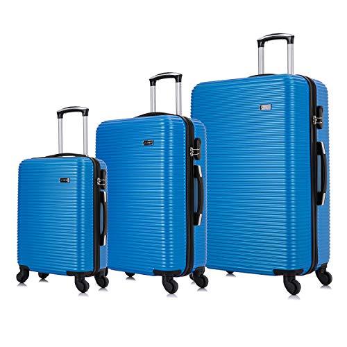 Vallexy Set di valigie Leggera Valigetta con guscio rigido Shell Set da 3 pezzi Bagaglio a mano(55X40X20 CM) + Bagaglio medio (65X43X23 CM)+ Bagaglio grande(74X49X27 CM)(20' 24' 28') (Royal-new)