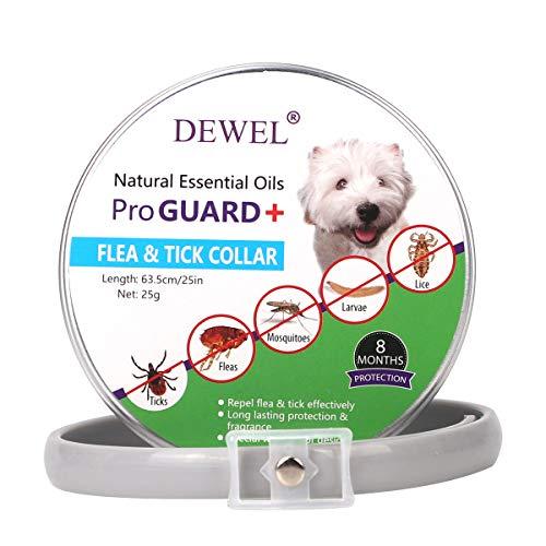 Dewel Collar Antiparasitos Perro y Gato contra Pulgas,Garrapatas y Mosquitos,Tamaño Ajustable e Impermeable para Mascota Pequeño Mediano Grandes