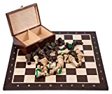Square - Profesional Ajedrez de Madera Nº 5 - WENGE - Tablero de ajedrez + Figuras - Staunton 5