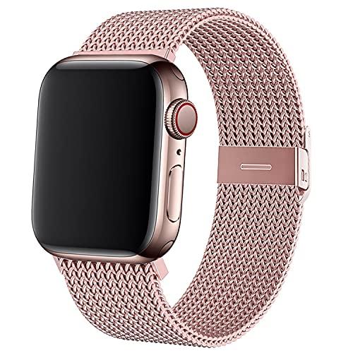 LOSOME Metall Ersatzarmband Kompatible mit Apple Watch Armband 38mm 42mm 40mm 44mm, Edelstahl Sportarmband Loop Kompatible mit iWatch Series SE/6/5/4/3/2/1