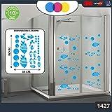 Adhesivo para ducha - Diseño de burbujas y peces tropicales Cód.1427 (azul celeste)