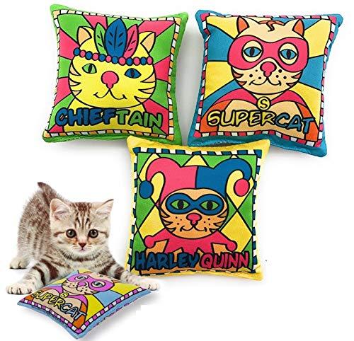 ELANOX Katzenspielzeug Schmusekissen für Katzen mit Katzenminze gefüllt 3er Set