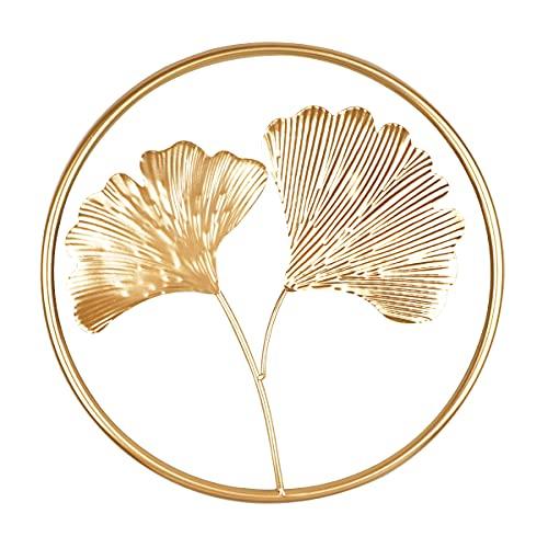 YiYa 40CM Decorazione foglia di ginkgo in metallo Decorazione foglia di ginkgo oro per camera da letto Soggiorno Ufficio Decorazione bar dell'hotel Puntello per foto, Due Foglie