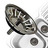 AONAT Colador de fregadero, tapón de desagüe de colador grueso de acero inoxidable para cocina, tamaño para fregaderos de 79-82 mm (diámetro: 80 mm)