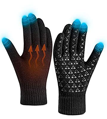 Winter Gloves for Women Men Touch Screen Warm Knit Gloves - Anti-Slip Silicone Gel, Thermal Soft Lining Elastic Cuff, Running Driving Cycling Motorcycle Texting Touchscreen Gloves Unisex 4 Colors