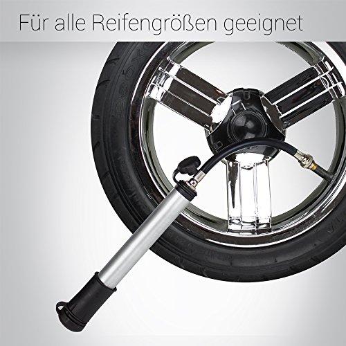 Bergsteiger Fahrradpumpe Minipumpe für Schrader Autoventil & Presta Sclaverand-Ventil, inkl. Flex-Schlauch, Ballpumpe, Original Fahrrad-Zubehör - 5