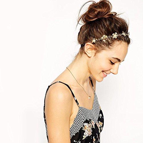 Jovono bandeau chaînette, accessoires pour cheveux, bandeau bohème, serre-tête à fleur dorée, bandeau pour femme