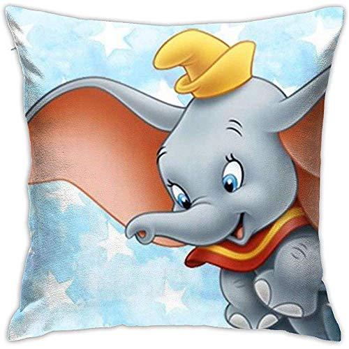 Snbin Fundas de cojín Dumbo Funda de cojín Decorativo de Forma Cuadrada Linda para sofá Sofá Juego de Almohadas