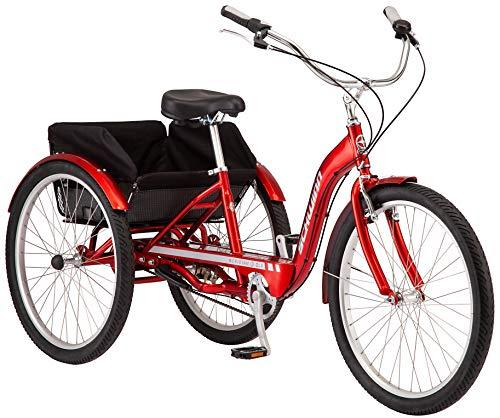 Schwinn Meridian Deluxe Adult Trike, Three Wheel Cruiser Bike, 3-Speed, 26-Inch Wheels, Cargo Basket, Red