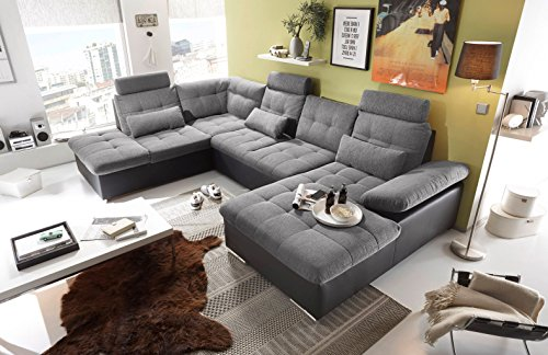 moebel-guenstig24.de Couch Jakarta Wohnlandschaft Sofa Lederlook Schlaffunktion Schlafsofa schwarz grau hell Gemustert Ottomane Links 324 cm