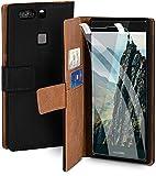 moex Handyhülle für Huawei P9 Plus - Hülle mit Kartenfach, Geldfach & Ständer, Klapphülle, PU Leder Book Hülle & Schutzfolie - Schwarz