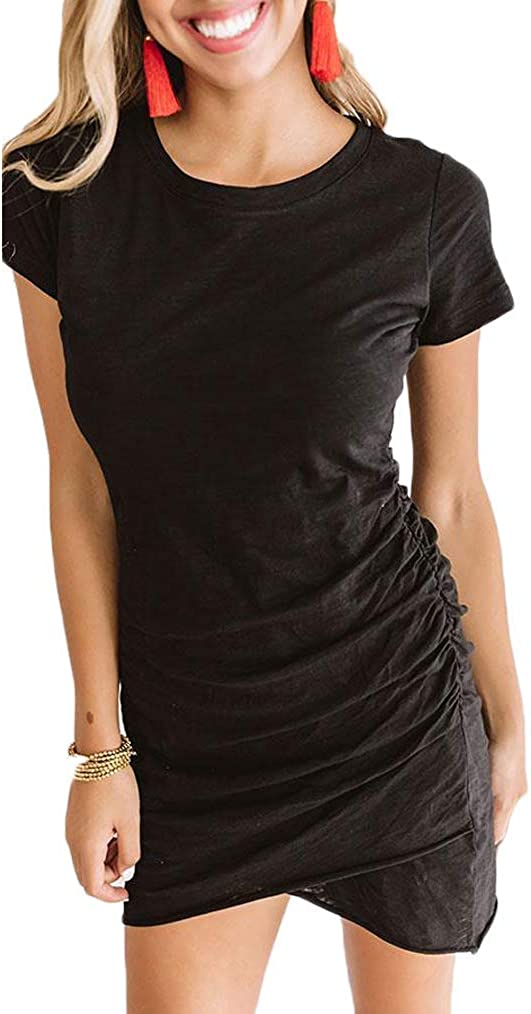 Women's 2021 Summer Casual Crew Neck Ruched Stretchy Tulip Hem Bodycon Short Mini Dress T Shirt Sheath Dresses