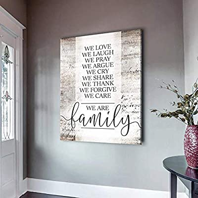 Sense Of Art | We are Family V2 Quote | Wood Framed Canvas | Ready to Hang Family Wall Art for Home and Kitchen Decoration from Sense of Art