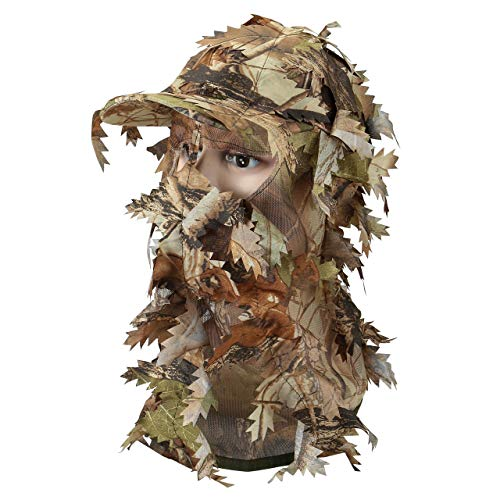 Faletony Herren Camouflage Jagd Tarnmaske mit 3D Blätter Tarn Haube Cap für Ghillie Jagd Kriegsspiel Airsoft