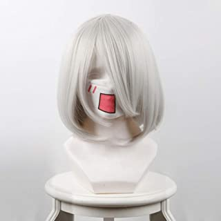 AD Face COS Anime Wig NieR: Automata (2B) Game Cosplay Rose Net Wig with Bangs Ombre Silver White 100% High Temperature Fiber Short Straight Hair Bob Hair 14 Inches