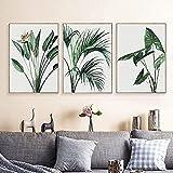 Póster de arte de pared 3 piezas 30x50cm sin marco abstracto acuarela planta pintura hojas verdes negras hogar arte de pared carteles e impresiones decoración de imagen