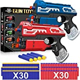 POKONBOY 2 Sets Blaster Toy Guns for Boy, Foam Bullet Toy Gun with 60 PCS Refill Darts for Kids 5 6 7 Year old Boys Gun Games Christmas